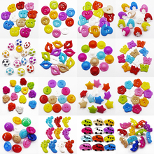 Free Shipping 50 pcs Mixed 10 Colors Black Car Buttons Dyed Kids Plastic Baby Button Sewing Scrapbooking Crafts Handmade 17x11mm