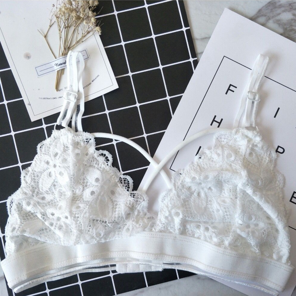 SP&CITY Floral Embroidered  Lace Lingerie Bras For Women Sexy Bralette Tube Top Invisible Bra Transparent Hollow Out Brassiere