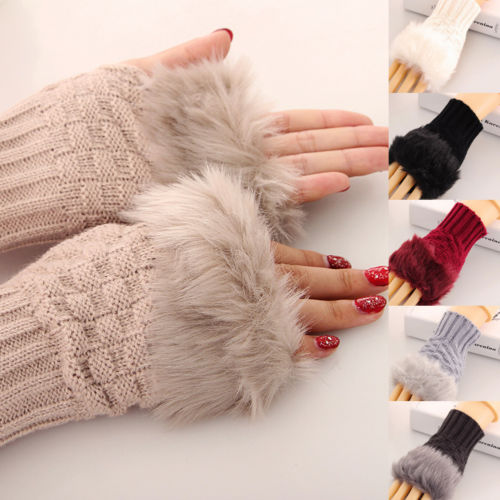 Arm Warmer Fingerless Gloves Knitted Fur Trim Mittens Solid Color Women Good