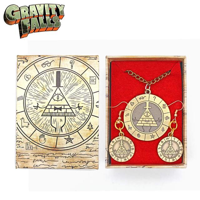 US $1 99 |Wellcomics Anime Gravity Falls Bill Cipher Zodiac Symbol Metal  Pendant +Earrings +Necklace +Gift Box Ornament Cosplay Collection on