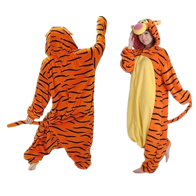 Volwassen Mannen En Vrouwen Tijger Pyjama Rollenspel Schattige Dieren Hooded Kleding Winter Super Zachte Warme Pak Jurk