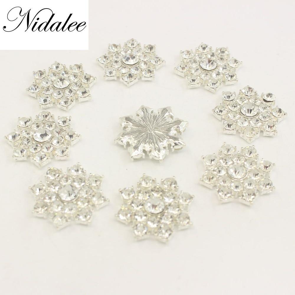 Rhinestone Flatback Gem Buttons DIY Craft Supply Applique Metal Crystal Botones Decoration Diamond Embellishment Dress 10pieces