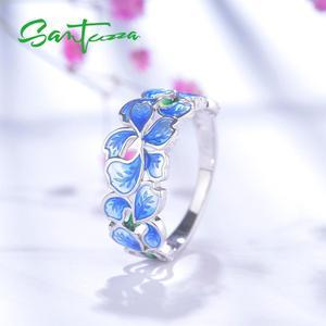 Image 5 - SANTUZZ 여성을위한 실버 플라워 링 순수한 925 스털링 실버 우아한 블루 꽃잎 반지 화이트 CZ 패션 쥬얼리 수제 에나멜
