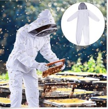 Beekeeping tools anti-bee clothing  export quality cotton  extra thick anti-bee clothing one-piece space suit bee clothing unisex anti bee clothing cotton beekeeper bee clothing bee caps 1pair sheepskin gloves apiculture costume white grey color