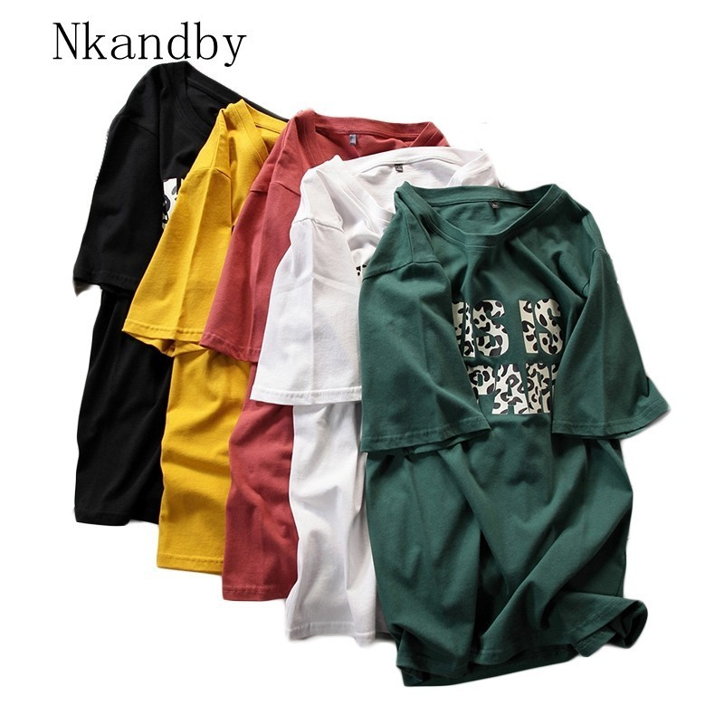 Nkandby Plus Size Women Tshirts Summer Casual Loose Letter Print Womens Tops And Tees Cotton Short Sleeve Korean T Shirt T-shirt
