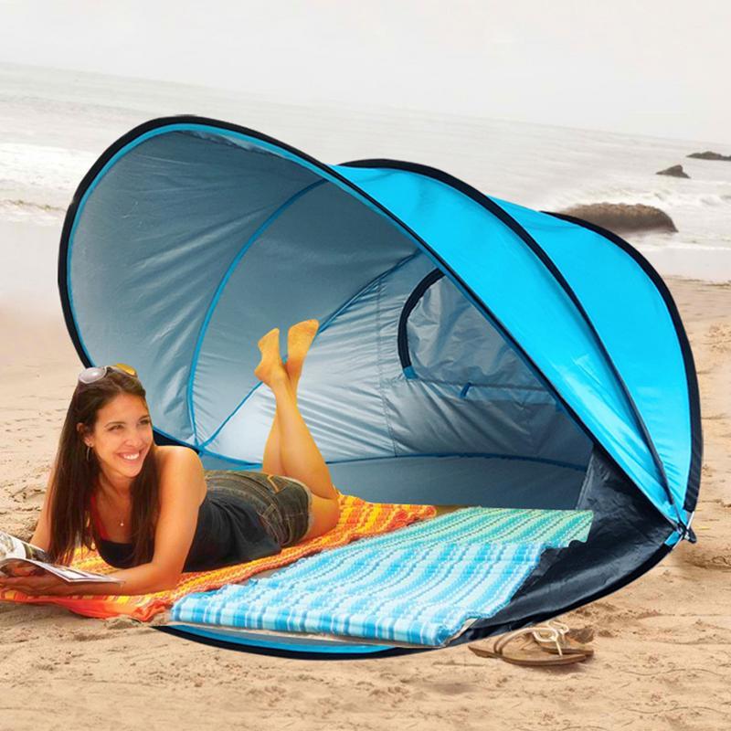 Surdimensionné tente de plage pare-soleil Abri Automatique Instantanée Vent/Imperméable UPF40/Anti-uv Tente Pour La Plage De Pêche Camping Randonnée