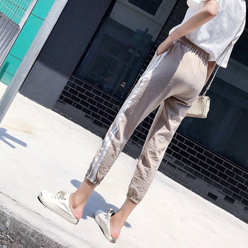 Women Pants Casual Sports Jogging Bottoms Side Stripe Drawstring Sweat Trousers Women Loose Elastic Waist Sportswear Pants 4