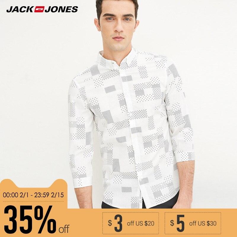 Jack & Jones Marke 2018 NEUE BAUMWOLLE punk stil plaid männlichen dünne sailor kragen drei viertel ärmeln casual shirts | 216231509