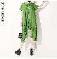 SHENGPALAE Size New Spring Summer Round Neck Short Sleeve Green Hem Irregular Fold Stitch Big 2019 Dress Women Fashion JU415