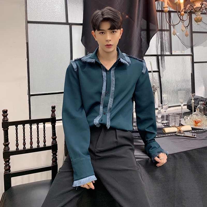 Модная классическая рубашка одежда для сцены мужская зеленая черная винтажная рубашка с кисточками и длинными рукавами мужская деловая сорочка Homme Manche Longue