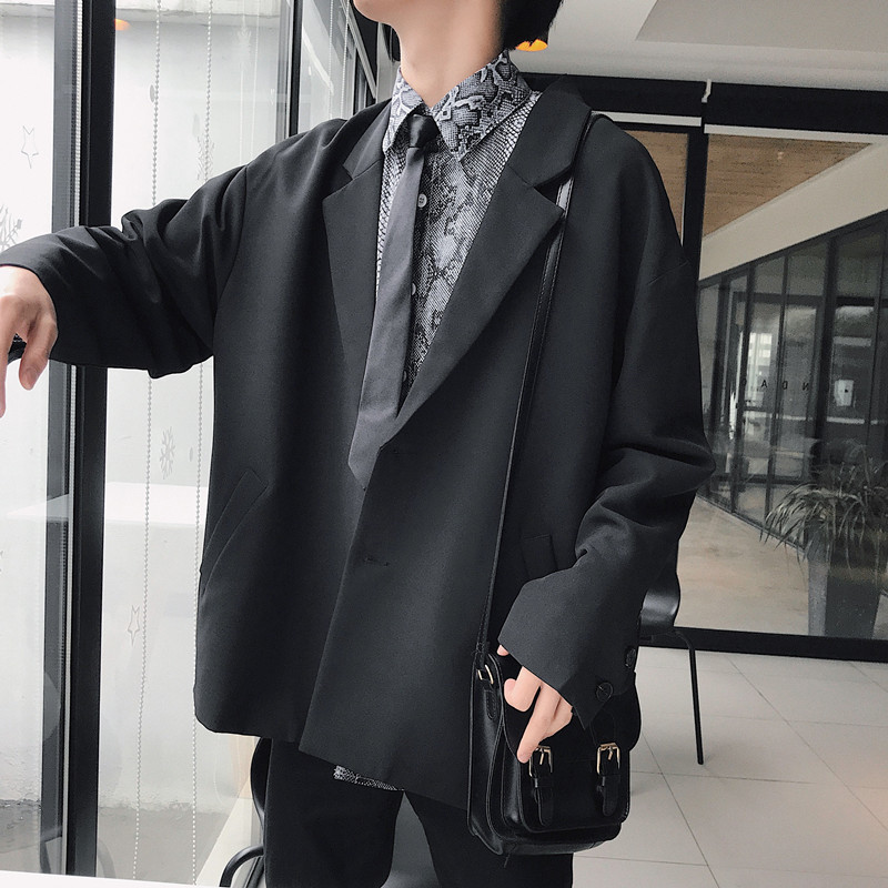 2019 Korean Style Spring New Men's Pattern Concise Outerwear Western Chic Suit Jackets Loose Coats Male Casual Blazers M-XL