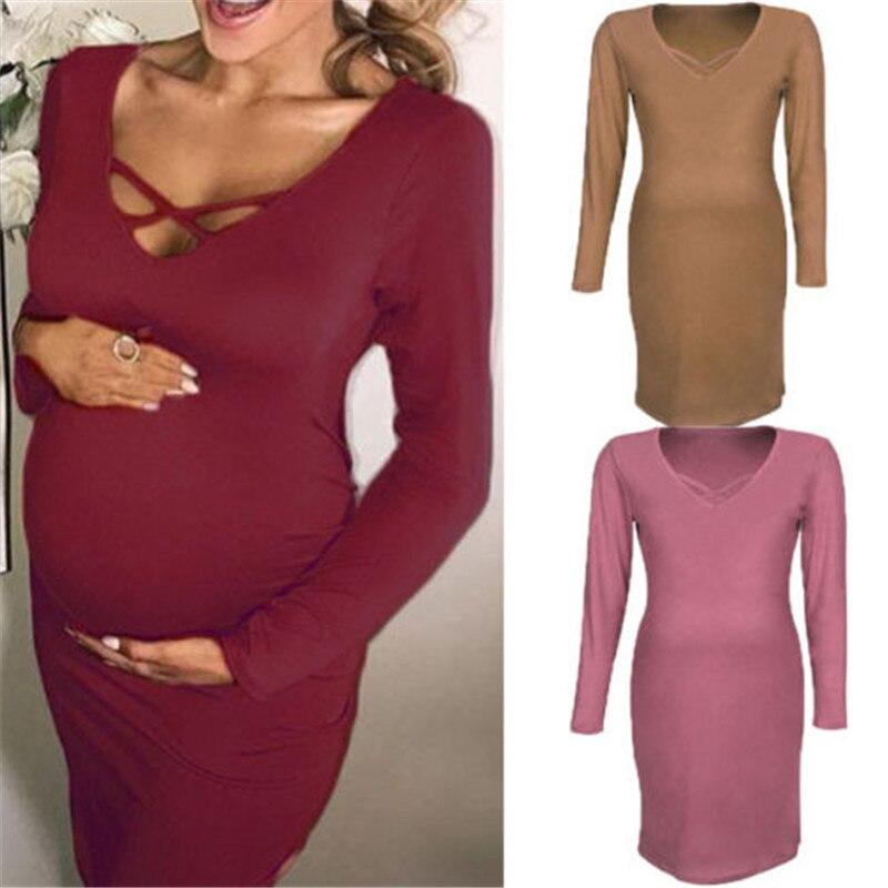 Женское хлопковое мягкое платье средней длины с длинным рукавом и v-образным вырезом для беременных, летняя одежда для беременных, новая оде...