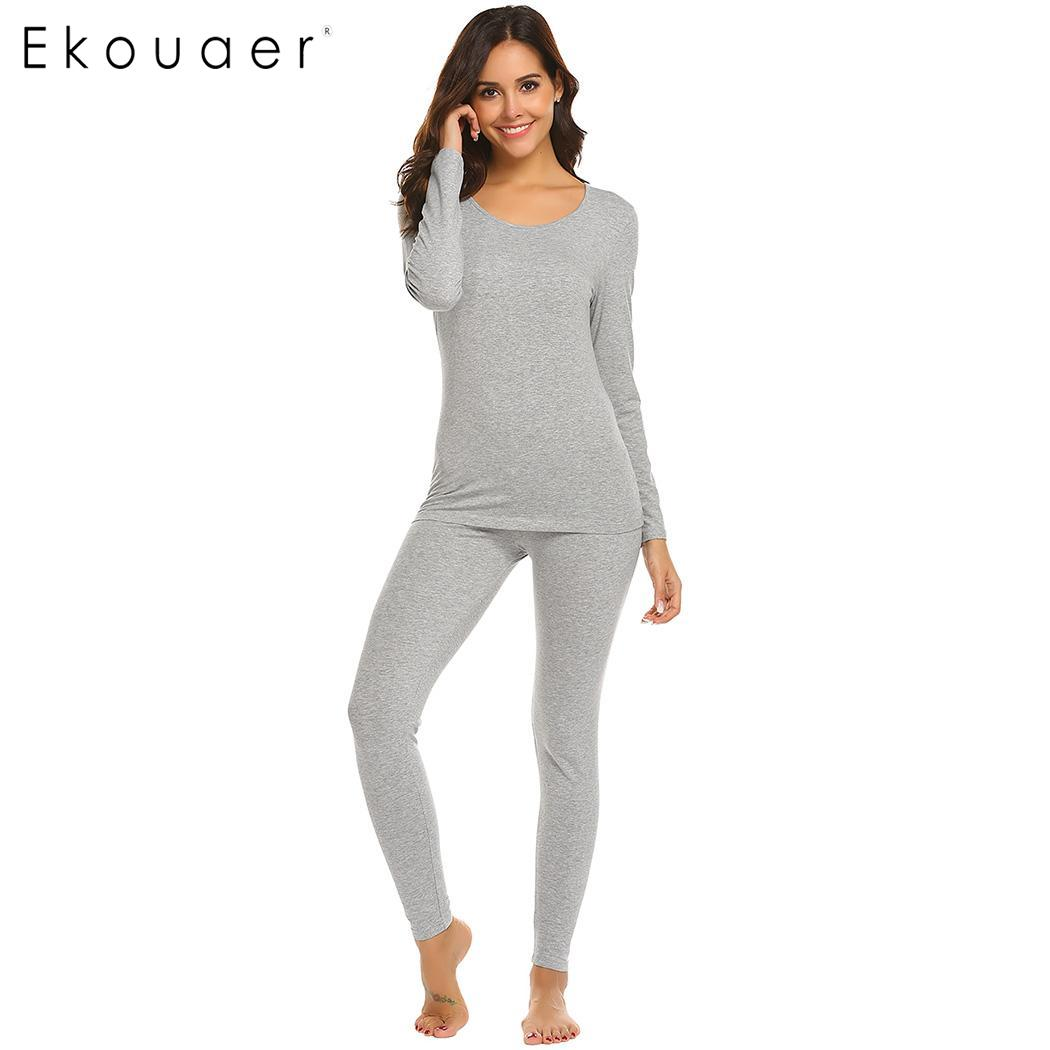 Ekouaer Women Thermal Underwear Pajamas Set Casual Autumn Winter O-Neck Long SleeveTops Elastic Pants Slim Pajamas Nightwear