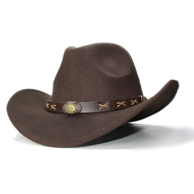 Vintage chico niño 100% lana de ala ancha vaquero occidental vaquera  sombrero Fedora Cap café. Sitúa el cursor encima para ... 095e6e720269