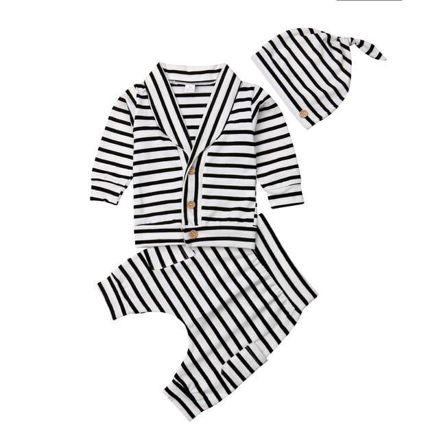 0aa43b4b8ab2 T-shirt Tops Trousers Pants Hat Cotton Autumn Spring Outfits Clothes Set  3pcs Newborn Infant