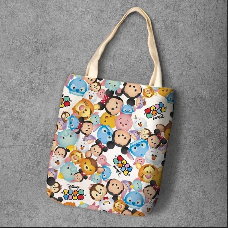 cc958e0d40611 Tsum Tsum yeniden kullanılabilir çanta Minnie Mickey mouse Winnie Dumbo  rakamlar anime Tuval Depolama alışveriş çantası 40*34 cm ücretsiz kargo