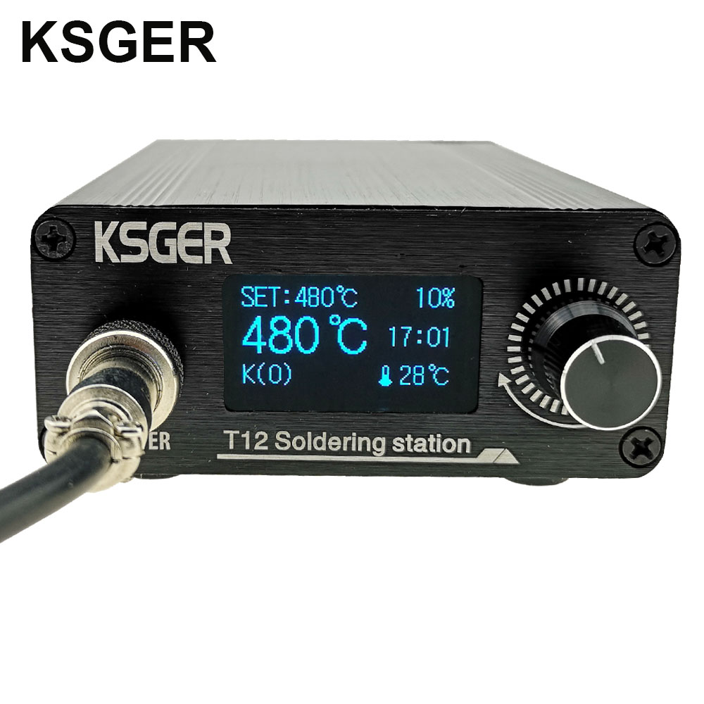 KSGER T12 Soldering Iron Station Lithium Battery Power Supply Tips STM32 V2 1S OLED DIY Kits
