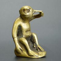 Chinese old collection handwork bronze Do not listen to monkey statue
