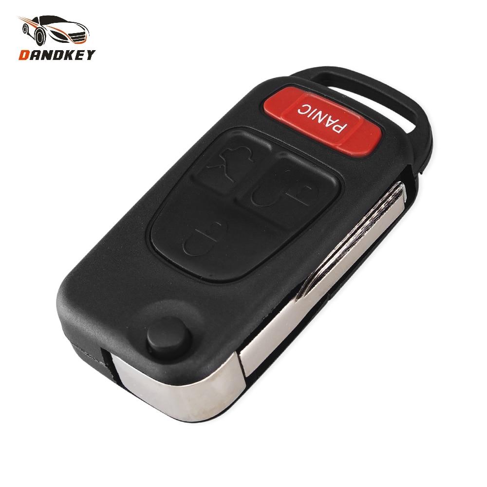 Dandkey 4 düğme 3 + 1 panik çevirme uzaktan anahtar kovanı Benz MB için ML350 ML500 ML320 ML55 AMG ML430 anahtarsız giriş anahtarı kapağı