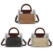 Women Transparent Shoulder Bag PVC Clear Summer Straw Hand Woven Bags Messenger Crossbody Bag Small Square Fashion Handbag Totes