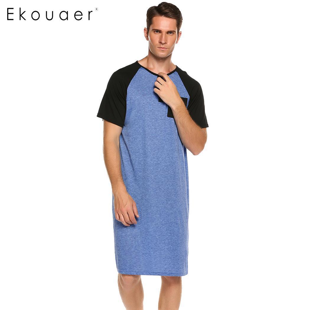 fe743525927 Ekouaer Men Sleepwear Long Nightshirt Short Sleeve Nightwear Night Shirt  Comfortable Loose Sleep Shirt Male Homewear Sleepshirts-in Sleep Tops from  ...