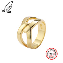 925 Sterling Silver Geometric Irregular Rings For Men Women Gold Color Ring Vintage Brand New Fashion Fine Jewelry Punk