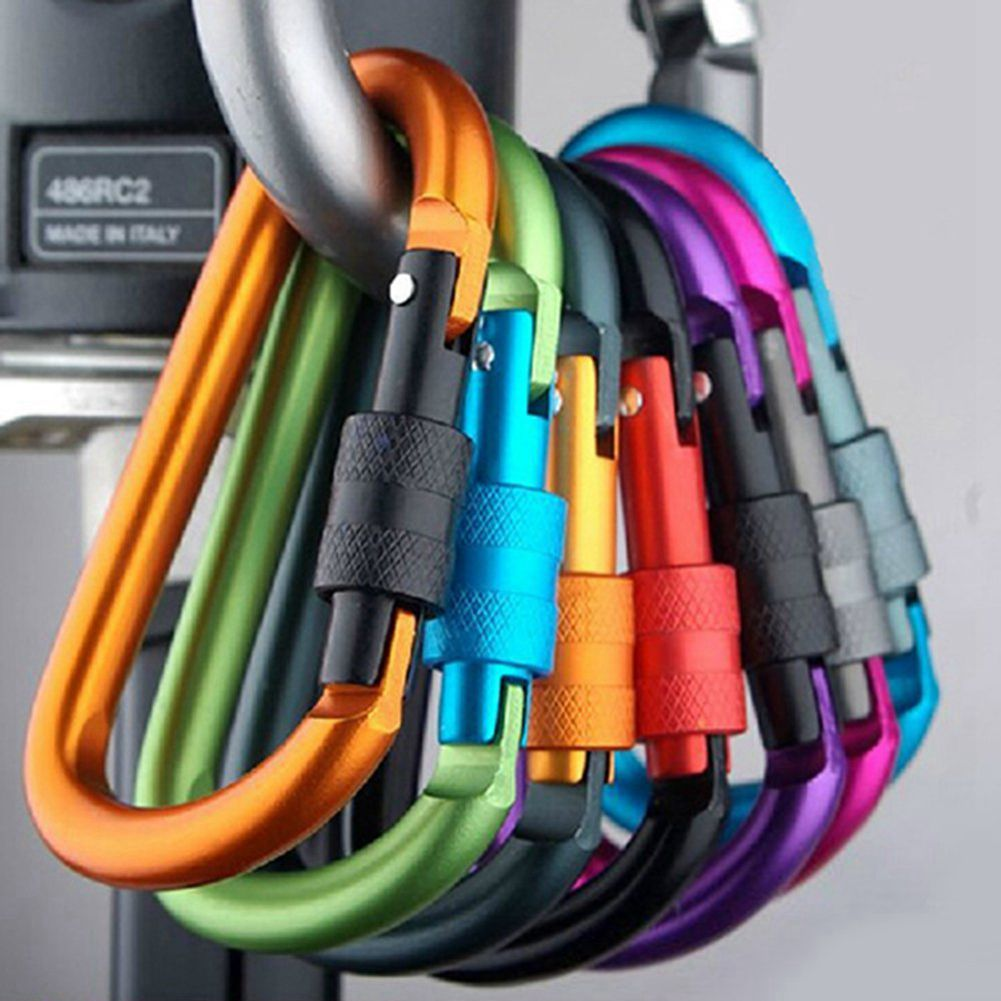 5pcs Aluminum Carabiner D-Ring Key Chain Clip Hook Keychain Keyring (Random Colour)