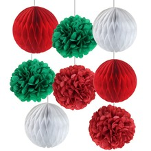 Pack Of 8pcs Christmas Decorations Red/Green/White Honeycomb Balls Pom Poms Flower Home Decoration Xmas Party