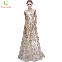 Evening-Dress Champagne Ssyfashion Formal Simple Party-Gown Robe-De-Soiree Half-Sleeved