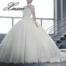 Винтажное кружевное платье для свадьбы с длинными рукавами и аппликацией, свадебное платье принцессы