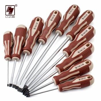цена на LIJIAN precision mini magnetic long screwdriver ratchet screw drivers driver bit set repair tools box professional screwdrivers
