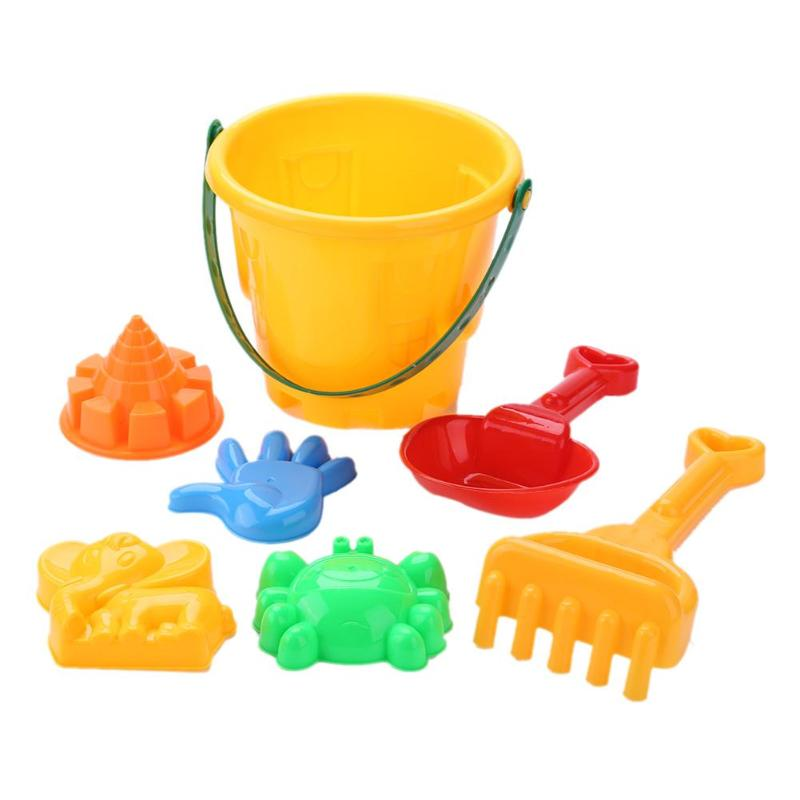7pcs/set Baby Kids Beach Sand Play Toys Bucket Shovel Pretended Sand Clay Mold Building Pyramid Sandcastle Beach Sand Play Toys