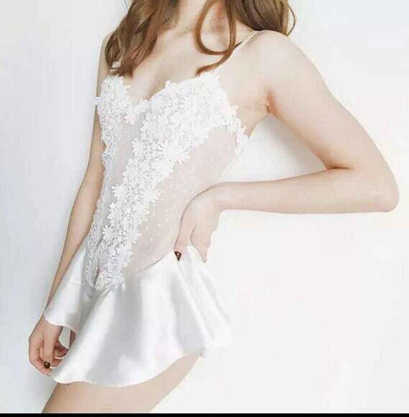 XXXL النساء السيدات الدانتيل مثير ملابس نوم الحرير قميص قصير الملابس الداخلية جنسي ساخن المثيرة فستان سهرة زائد حجم مثير الملابس الداخلية