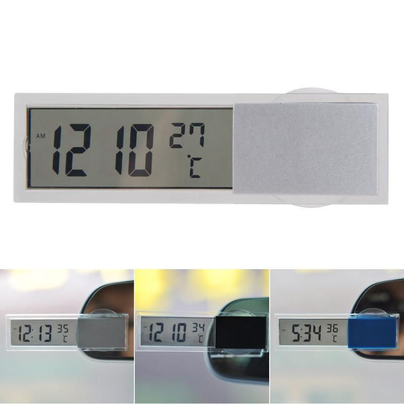 2 in 1 Mini Automobile Clock Thermometer Hours in the Car LED Digital Display with Suction Cup AG10 Button Cell Battery Operated