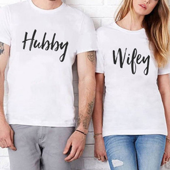 ff80d8e753 EnjoytheSpirit Funny Letter Tshirt Hubby Wifey Short Sleeve O Neck Couple T  Shirt Funny Tops Family Matching Clothes Top Quality