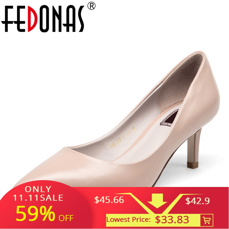 FEDONAS Women Pumps Fashion Pointed Toe Genuine Leather Stiletto High Heels Shoes Spring Summer Wedding Shoes Woman Party Pumps все цены