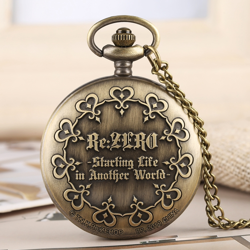 Retro Bronze Re:Zero Starting Life In Another World  Theme Quartz Pocket Watch Men Necklace Women Japanese Anime Souvenirs Gifts