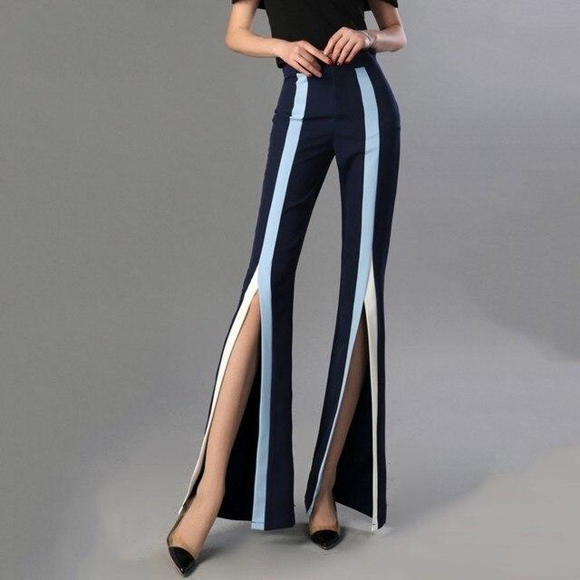 Pantalón cintura alta split color 2