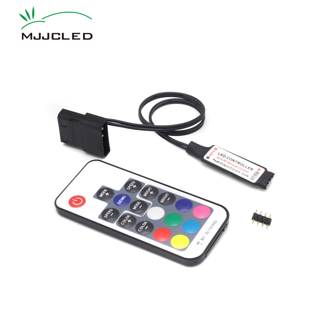 SATA RGB Controller RF17 Keys Remote DC 12V Wireless Large 4 Pin RGB Controller For PC Computer Case 5050 RGB LED Strip Light