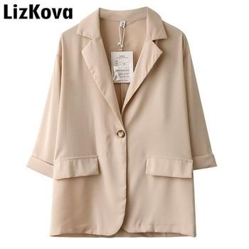 Delgada de verano chaqueta Blazer chaqueta manga tres cuartos traje pequeño  traje de mujer 2019 ocio botón chaqueta abrigo Suelto