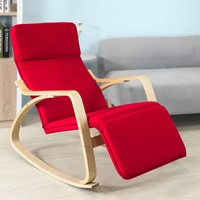 SoBuy FST16 R, Relax Rocking Chair Lounge Chair Red Cushion & Adjustable Footrest