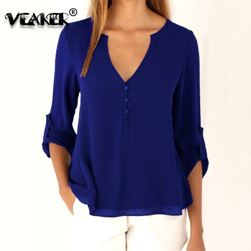 Women V-neck Shirt Top Long Sleeve Blouse Casual Plus Size Spring Summer S--5XL