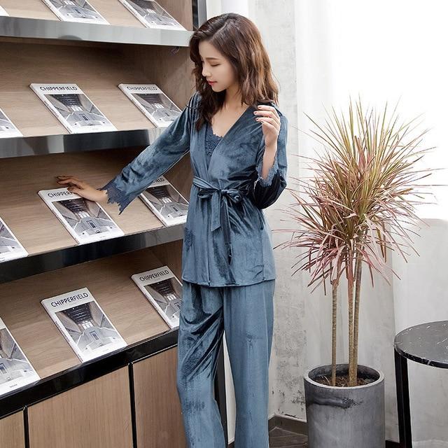 2019 New Autumn Winter Women s Pajama Set Velvet Lace Nightwear Three Piece  Set Robe Trousers Home 70c426e42