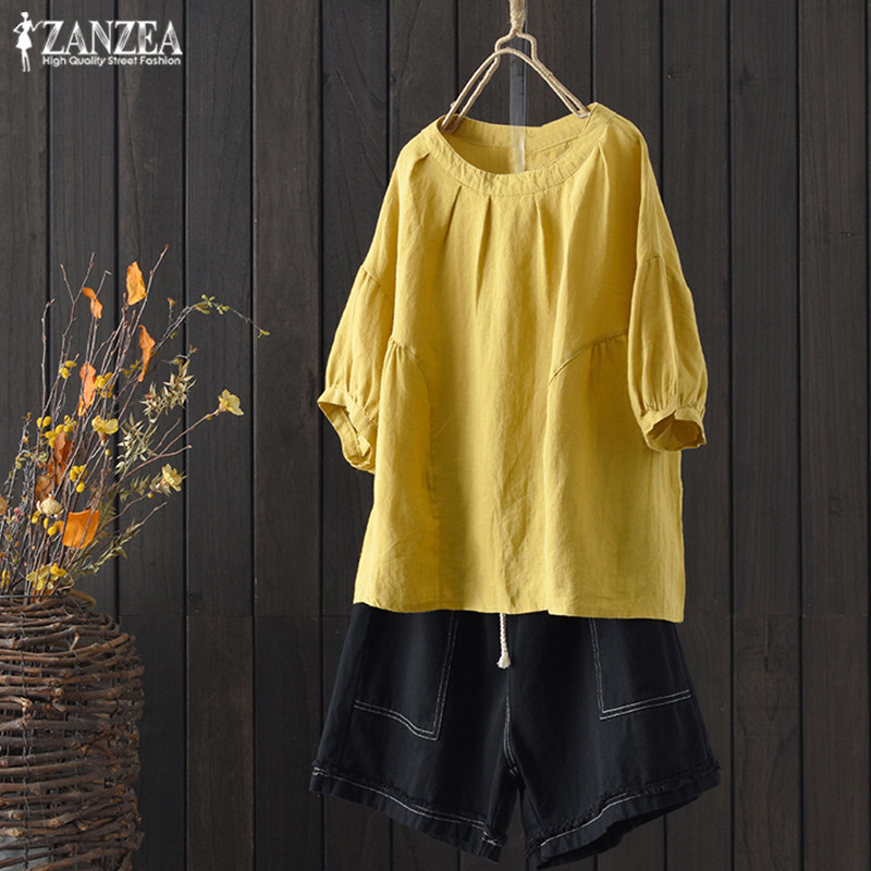 ZANZEA Plus Size Tunic Tops Women's Blouse 2019 Spring Lantern Sleeve Shirts Vintage Linen Blusas Female Casual O Neck Chemise