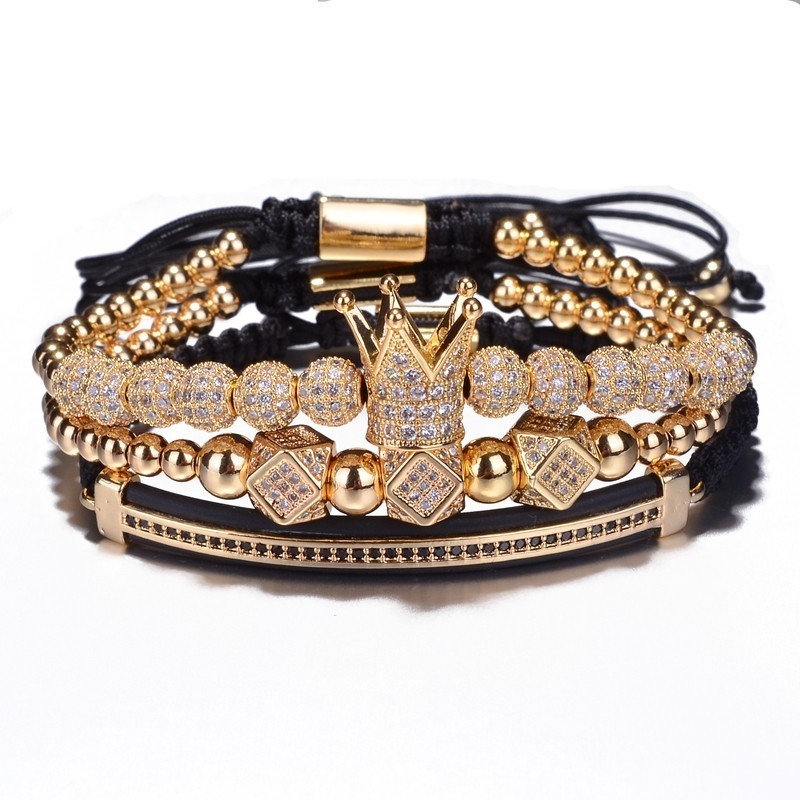 Luxury Jewelry CZ Polygon Ball Crown Charm Copper Bead Macrame Handmade Men 3pcs Bracelets Set Bangles For Men Jewelry