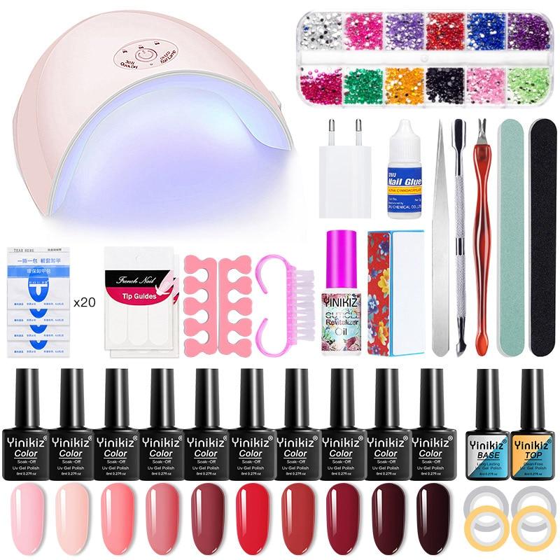 Yinikiz 52 stück Serie Farben Nail art Lack Set DIY Nagellack Gel Nagel Maniküre Datei Schleifen Uv Led Lampe trockner Kit