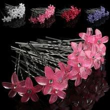 20pcs/set White Flowers Hairpin Stick Wedding Women Bridal Crystal U Shaped Hair Clip Accessories