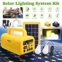 Portable Solar Lamp Lighting System 2* 3W LED Light + 3W Solar Panel 4V 8000mAh Generator USB Rechargeable Radio Music Function