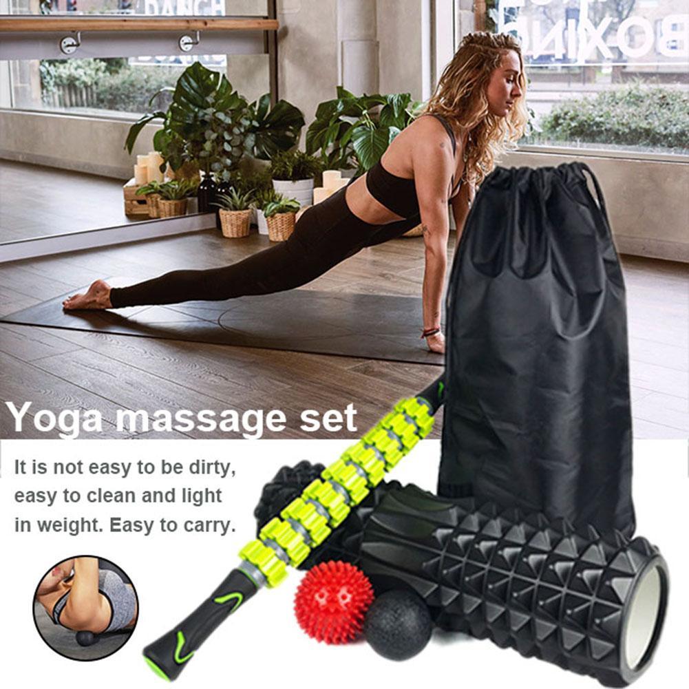 New Yoga Column Massage Stick Combination Set Foam Shaft Fascia Ball Massage Relaxing Roller Yoga Kits For Men And Women
