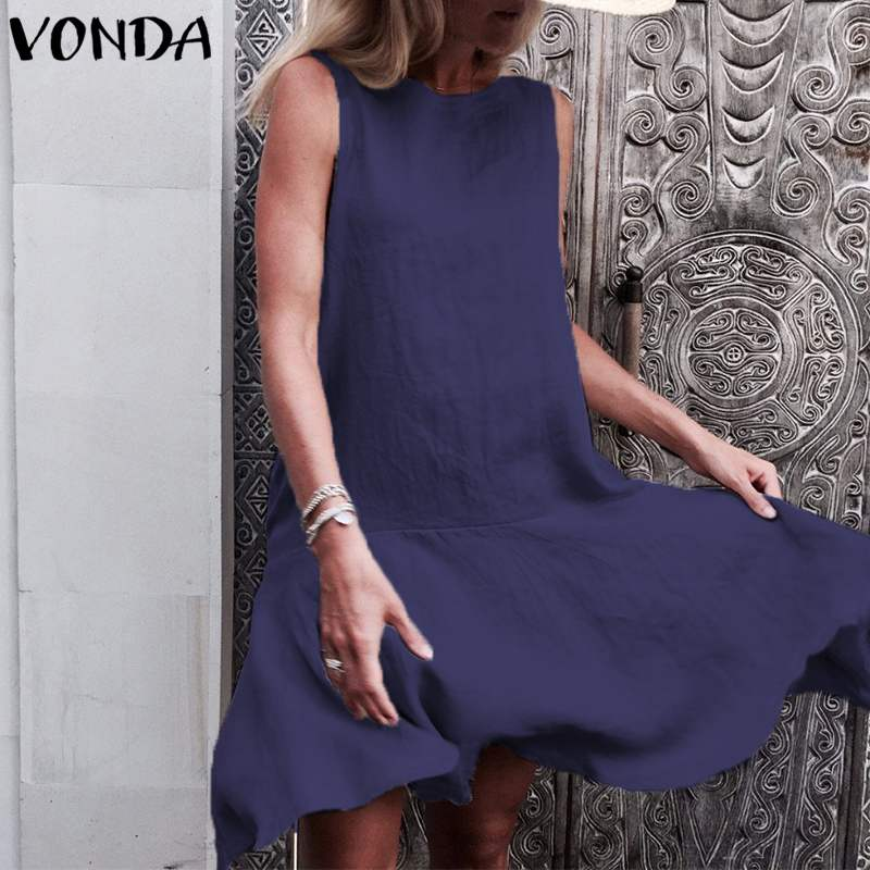 713f7e99bbbc VONDA Women Elegant Mini Dress 2018 Summer Pregnant Casual Loose O Neck  Sleeveless Ruffle Maternity Party